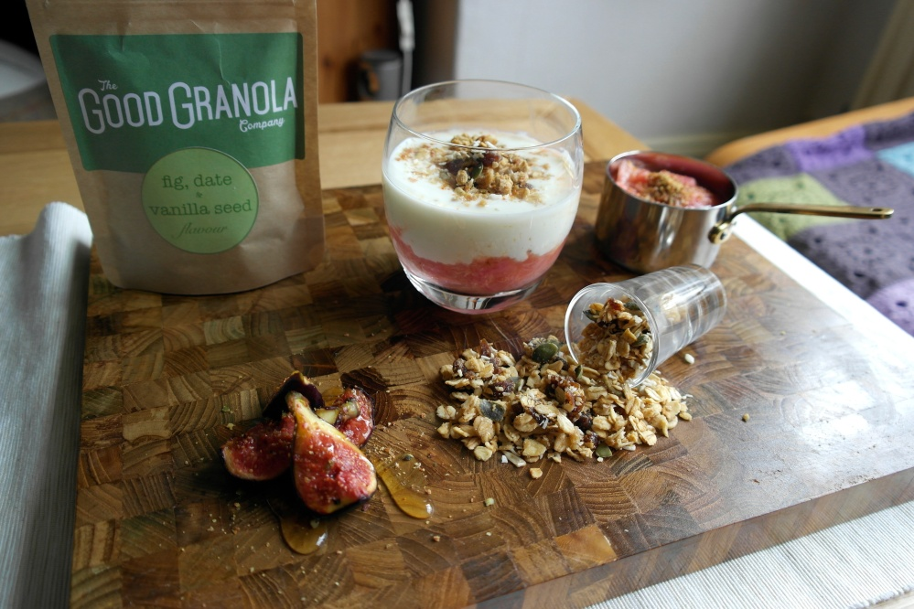 Granola with Rhubarb Compote and yoghurt - Front Shot